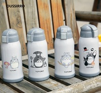 OUSSIRRO 600ML Totoro Lovely Thermos Pretty Baby Thermos With Straw Mug 304 Stainless Steel Vacuum Water Bottle