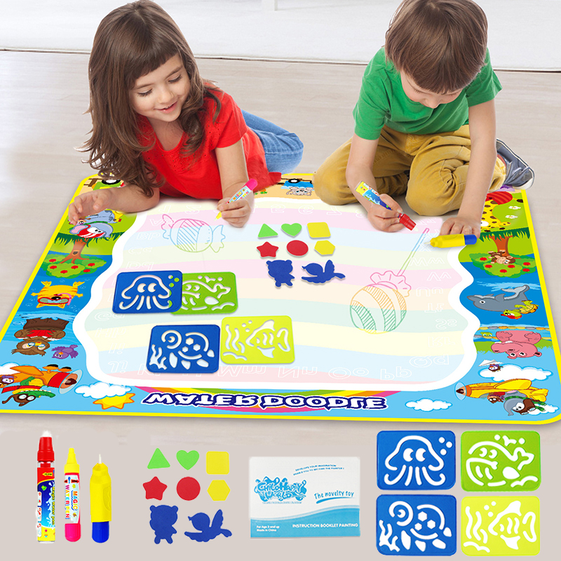 Magic Water Drawing Mat & 3 Pens Water Doodle Mat Coloring Painting Rug Drawing Board Toys For Creative Children Gift