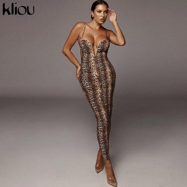 Kliou Sexy Serpentine print Women sleeveless Backless Elegant Slim Pencil Dress 2020 Adjustable shoulder strap banquet Dress 1