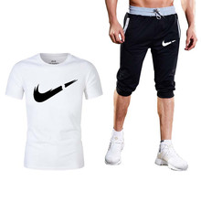 2019 New quality mens T-shirt sports suit 2 fitness short-sleeved running printing cotton