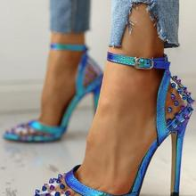 2020 New Sexy Blue Sandals Ladies Women Sandals Pointed Rivet Stilettos Sharp Point Toe 11.5cm High