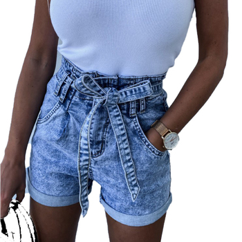 Women High Waist Lace Up Jean Shorts Wide Leg Loose Denim Shorts with Belt Female Fashion Summer Ladies Rolled Short Jeans Mujer roll up hem denim shorts with belt