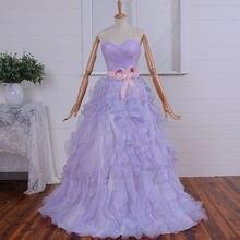 Бальное платье для дебютанта девушек светло фиолетовое из органзы