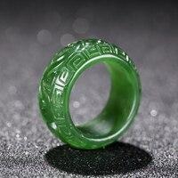 Natural green jade rings jasper jade ring handcarved dragon green jade rings jadeite jade ring jade gift brand women men ring