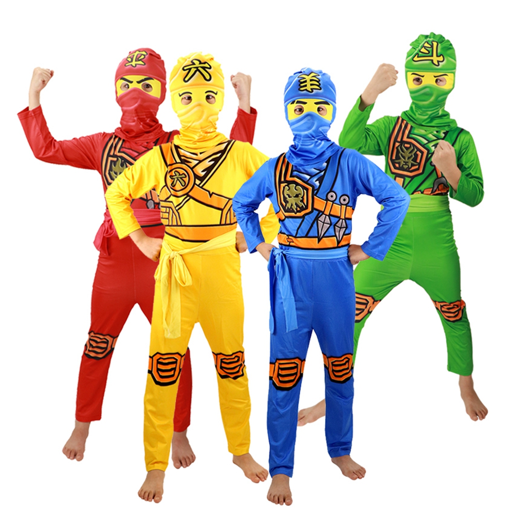 LEGOO Ninjago Costume Kids Boys Ninja Clothing Superhero Halloween Party Carnival Purim Cosplay Jumpsuit Child Ninja Clothes Set