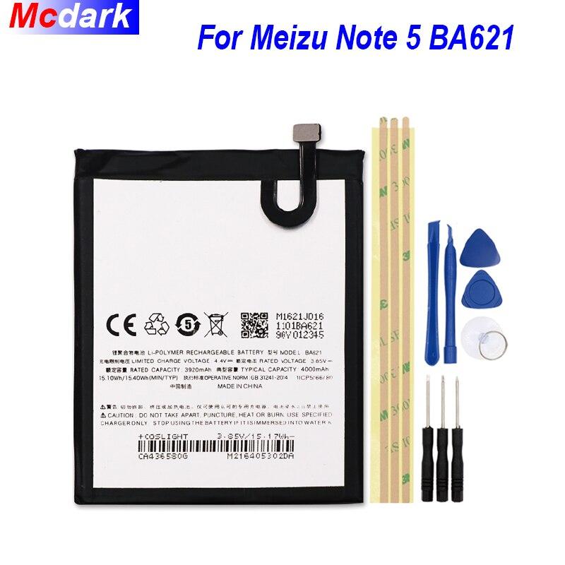 4000mAh Bateria Batterie Para Meizu Nota 5 BA621 meilan nota 5 M5 nota Bateria Batterij Acumulador + Ferramentas