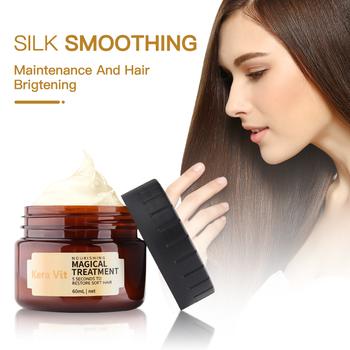 Maska do naprawy włosów na zniszczone włosy pielęgnacja magiczne leczenie witaminy maska wypełniacz do włosów keratyna krem salon olejek 60ML tanie i dobre opinie CN (pochodzenie) Kera Vit Hair Mask Hydrolyzed Keratin Leczenie włosów i skóry głowy Repair Smooth Straightening Hair