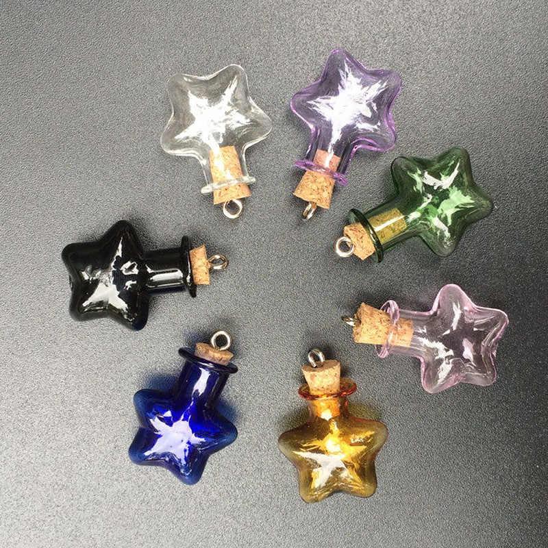 5 יח'\חבילה צבעוני קטן כוכב בקבוק Keychain עם פקק פקק זכוכית בקבוקון תליון בברכת בקבוק להיסחף בקבוק מיניאטורי Keychain