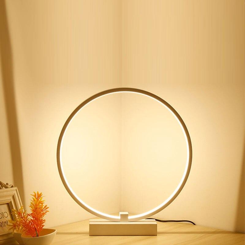 Modern Minimalist Round Shape LED Table Lamp Wooden Bracket Study Desk Decor Lamp  Eye-Care Night Light For Reading Dropshippin