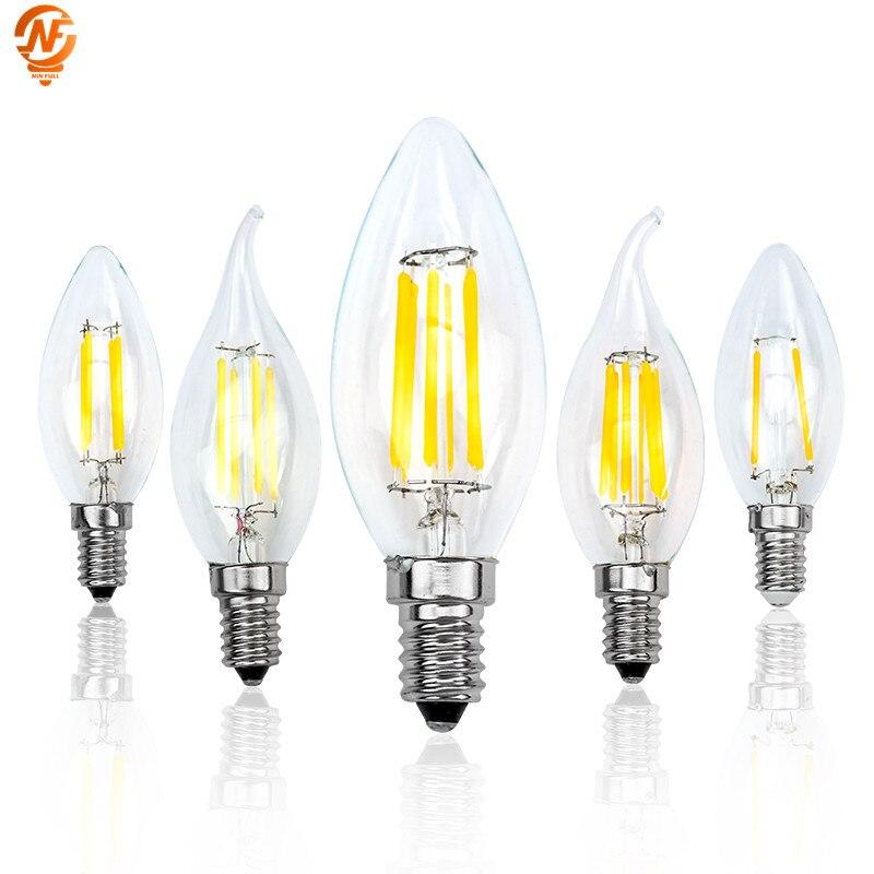 E14 Ретро Эдисон светодиодный лампы накаливания AC 220V 230V 240V светильник лампочка C35 C35L Стекло лампы Винтаж Свеча светильник