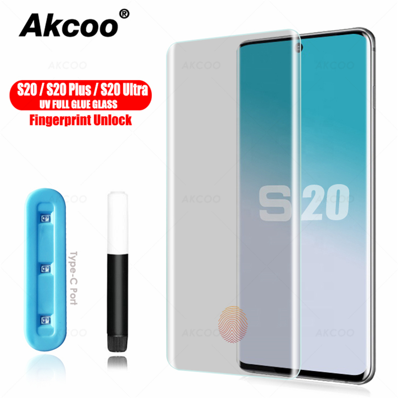 Akcoo UV Full Glue Glass For Samsung Galaxy S20 Plus Screen Protector 2020 Edition For Galaxy S20 Utra Tempered Glass S11 Film