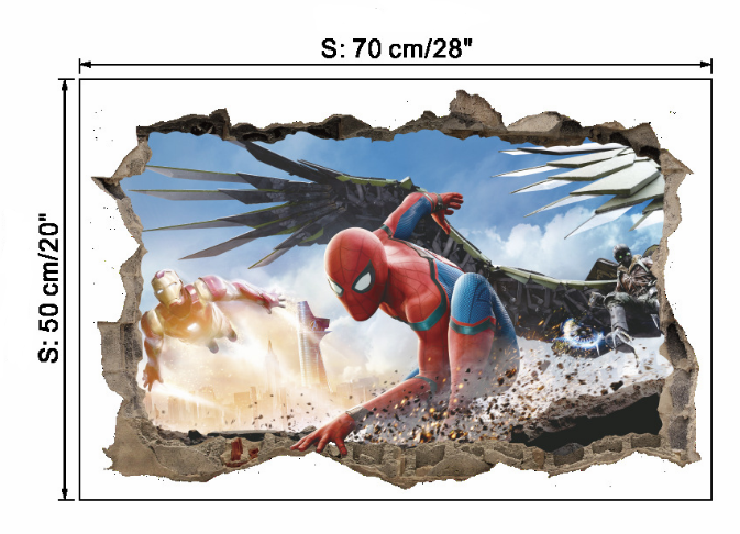 Us 6 9 3d Spiderman Through Wall Vinyl Wall Stickers Cartoon Movie Superhero Art Wall Decals Mural For Kids Rooms Boys Gifts Home Decor In Wall