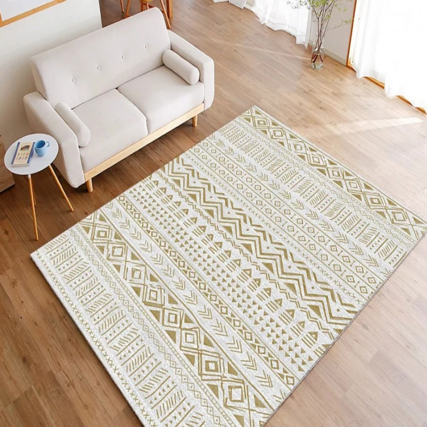 Tapis imprimé géométrique populaire INS de style marocain, tapis de table basse nordique de grande taille de salon, tapis de sol de décoration tout match - 3