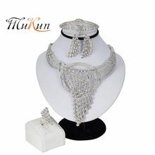 MUKUN 2019 African Wedding Jewelry Sets Women Fashion Bridal Dubai Silver Crystal Necklace Bracelet Ring Earrings Sets Jewelry