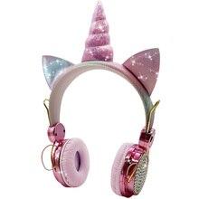 Cute Unicorns Kids Headphone Music Stereo Bluetooth 5.0 Earphone for Mobile Phone Music