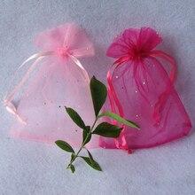 1 10pcs 15*20cm ורוד סגול פאייטים Drawable אורגנזה שקיות שקיות מתנת תכשיטי חתונה ממתקי אריזה קטן שקיות