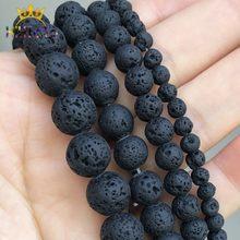Cuentas de piedra Natural de hematita de Lava negra, abalorios redondos para la fabricación de joyas, cuentas para manualidades de pulseras de roca volcánica, tachuelas para las orejas de 15 '', 4, 6, 8 y 10mm