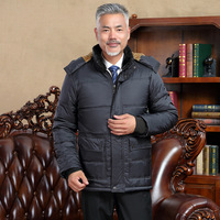Winter Middle Aged And Elderly People Cotton padded Clothes Men's Daddy Clothes Brushed And Thick Detachable Hat Cotton Coat Cot