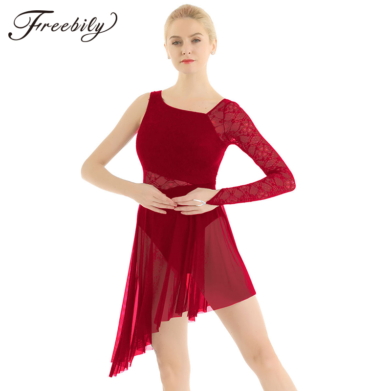Adult Single Long Sleeve Lace Gymnastics Leotard For Women Figure Skating Dress Contemporary Ballet Lyrical Dance Costumes