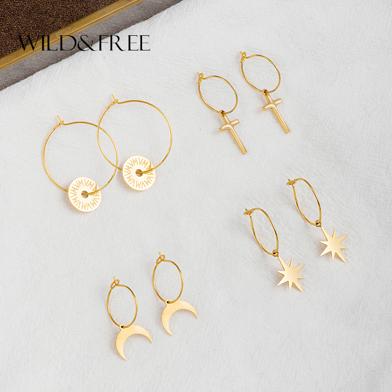 Wild&Free Stainless Steel Geometric Circle Hoop Earrings For Women Star Moon Cross Round Shape Huggie Thin Circles Hoops Earring