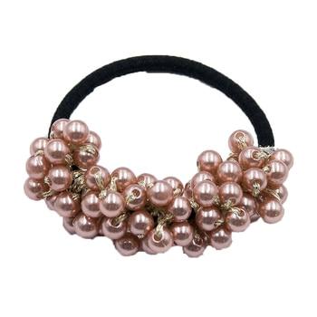 14 Colors Woman Elegant Pearl Hair Ties Beads Girls Scrunchies Rubber Bands Ponytail Holders Hair Accessories Elastic Hair Band 44