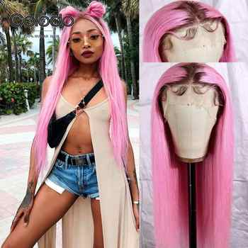 COLODO Pink Human Hair Wig Pre Plucked Straight Ombre Lace Front Wig With Natural Hairline Brazilian Remy Colored Wigs For Women - DISCOUNT ITEM  34% OFF All Category
