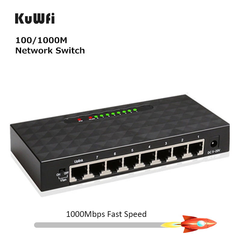 KuWFi 8Port Gigabit Switch Ethernet Smart Switcher High Performance1000Mbps Ethernet Network Switch RJ45 Hub Internet Splitter