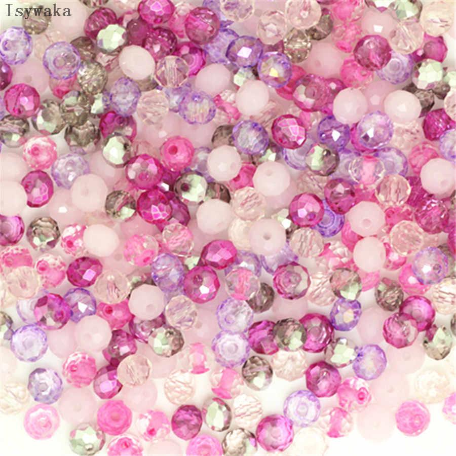 Isywaka ピンク多色 50 個 4*6 ミリメートルロンデルオーストリアファセットクリスタルガラスビーズルーススペーサービーズジュエリーアクセサリーのためジュエリーメイキング