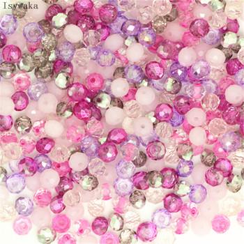 Isywaka różowy Multicolor 4*6mm 50 sztuk Rondelle Austria fasetowane kryształowe szklane koraliki koraliki dystansowe luzem okrągłe koraliki do tworzenia biżuterii tanie i dobre opinie CN (pochodzenie) NONE Okrągły kształt Moda 1s23a1d