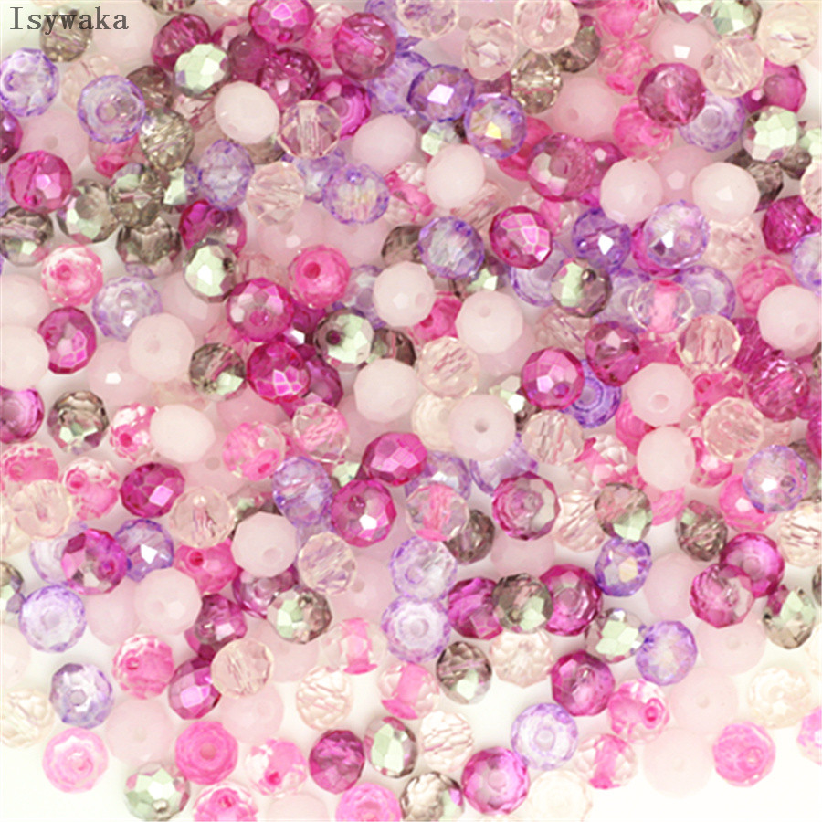 Isywaka Pink Multicolor 4*6mm 50pcs Rondelle Austria faceted Crystal Glass Beads Loose Spacer Round Beads for Jewelry Making(China)