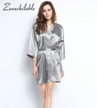 ZaxachilableBride  Solid Robes Satin Silk Bride Robe Wedding Bridesmaid Dressing Gown White