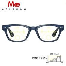 Meeshow Mắt Multifocal Nam Retro Châu Âu Xanh Dương Chặn Ánh Sáng Mắt Kính Prtection Leesbril Tiến Bộ Đọc 1512