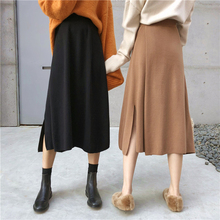 A Line Split Knit Skirt Autumn Winter Simple Elegant Lady Black Women Solid Color Elastic High Waist Midi Jupe Femme 2019