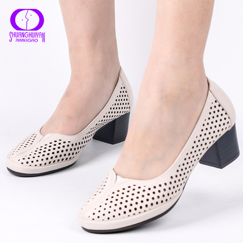 AIMEIGAO Autumn Spring Slip-on Hollow Out Women Shoes Soft Leather Square Heels Casual Sandals Solid Women High Heels Pumps