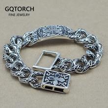 Heavy Thai Silver Men Bracelet Flower Pattern Cross Carving Vintage Rock Puck 925 Sterling Silver Jewelry Mens Bracelets 2017
