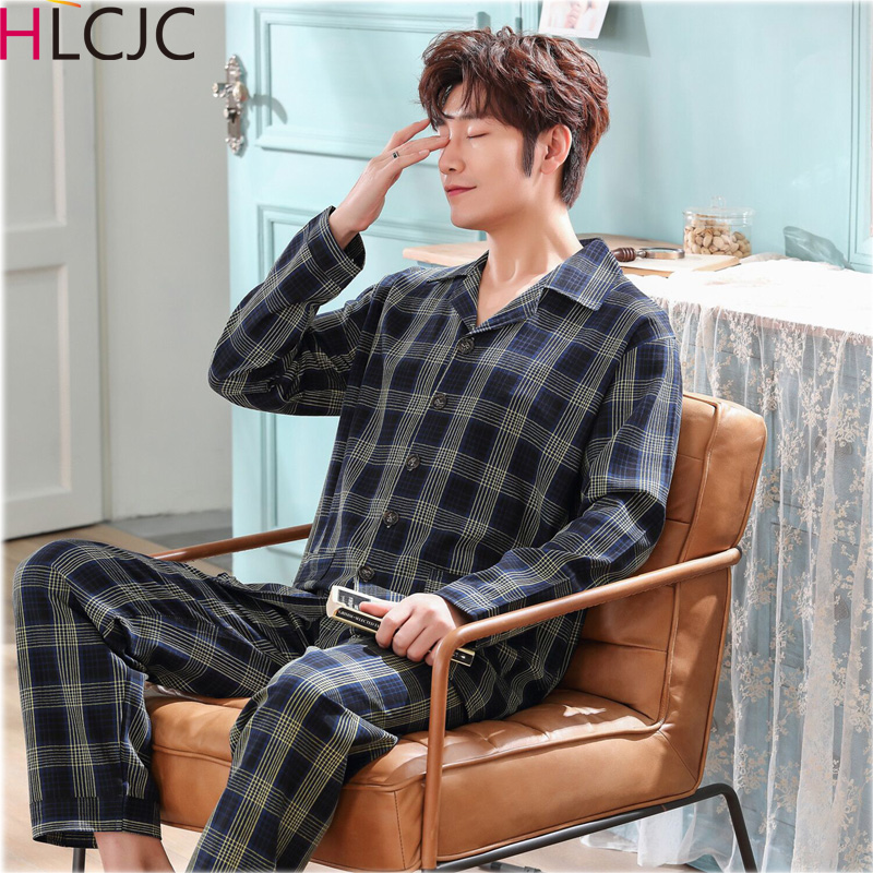 Plus Size XXXL Plaid Cotton Men's Long Sleeve Pyjamas Set Nightwear Pants Pajama Sets 2019 Sleepwear Suits Pajamas Set For Male