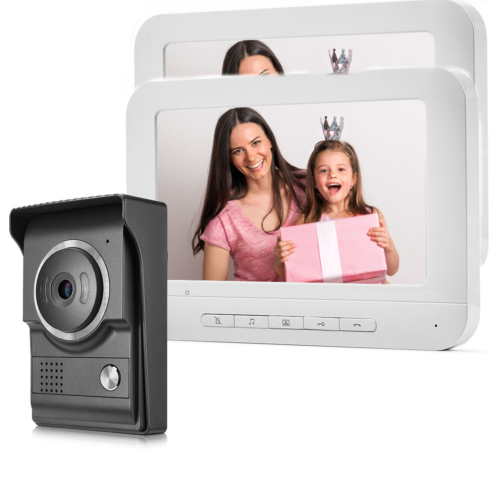 7 Inch Wired Video Doorbell Video Intercom Rainproof Camera Visual Intercom Two-way Audio Remote Unlock Video Door Phone