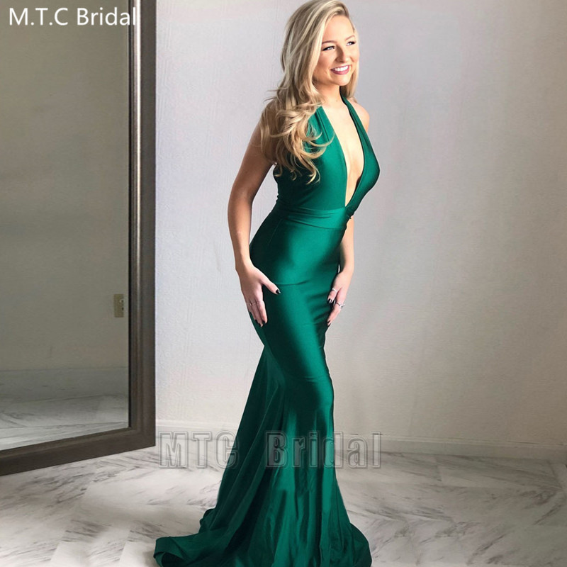 Sexy Backless Green Long Dresses Prom Halter Mermaid Elastic Satin Formal Party Dress Plus Size Graduation Gowns Robe De Soiree