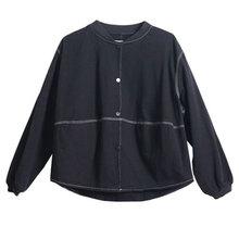Куртка женская однобортная короткая, Повседневная Свободная универсальная куртка в художественном стиле, однотонная, с длинным рукавом, на...