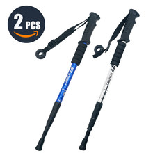 Walking Adjustable Trekking Pole Anti Shock Ultra Light Alpinism Poles Telescopic Ultralight Hiking Travel Non-slip Stick
