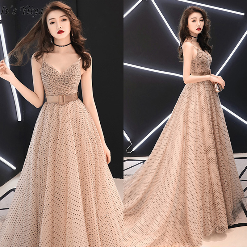It's Yiiya Evening Dress 2019 Sexy Plus Size Sleeveless A-Line Women Party Dresses Crepe Floor-Length Robe De Soiree E782