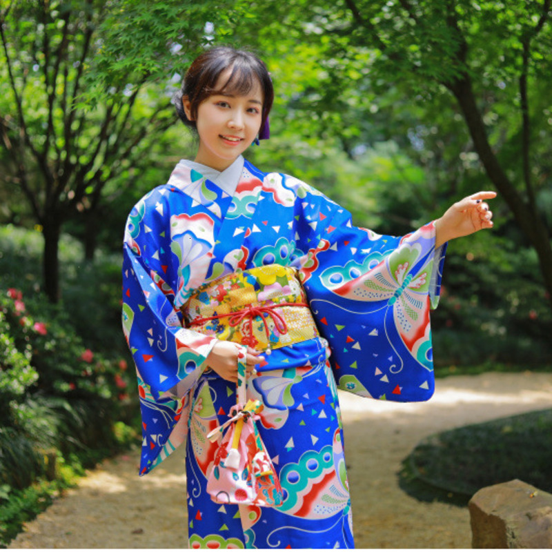 Traditional Japanese Kimono With Obi Women's Cotton Bath Robe Yukata Vintage Cosplay Evening Clothes Geisha Costume Haori W031