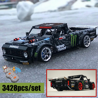 Funções de potência do motor rc ford mustang hoonicorn F-150 técnica super corrida caber leginglys MOC-34316 blocos construção tijolos brinquedos