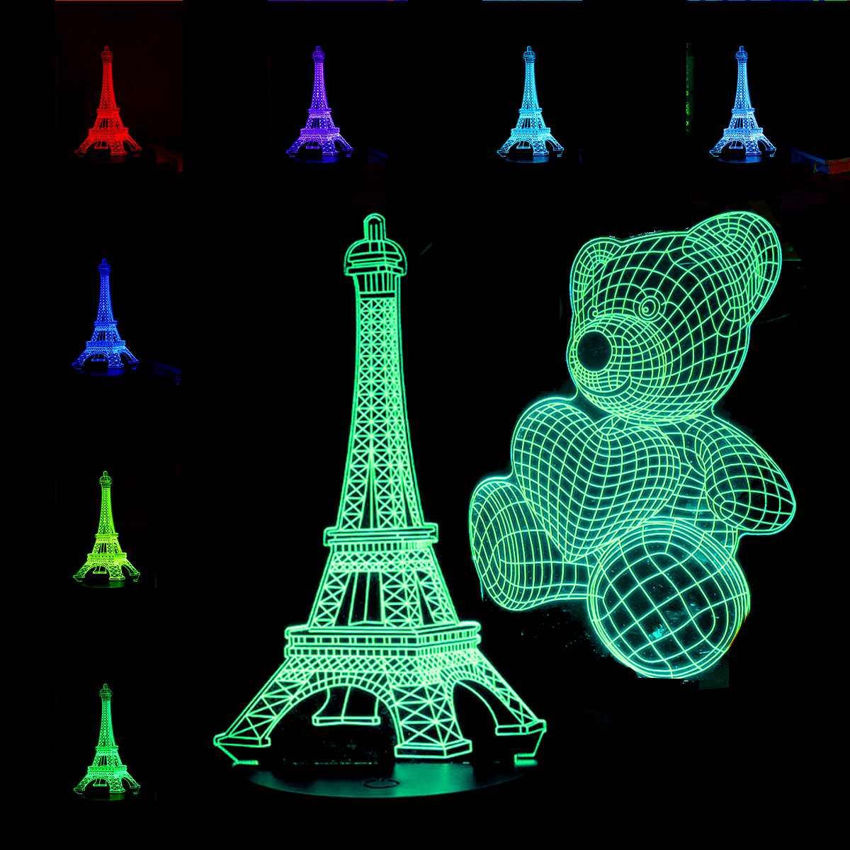 Baby Teddy Bear/Eiffel Tower 3D LED Night Light  Acrylic Board Plate Home Room Decor Kids Toy Christmas Gift