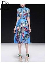 Baogarret 2019 New Womens Summer Elegant Runway Skirt Suit luxury Diamond Flower Print Vintage Party Female Two Piece Set