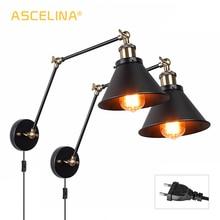 Lâmpada de parede industrial ajustável, para quarto, iluminação retrô