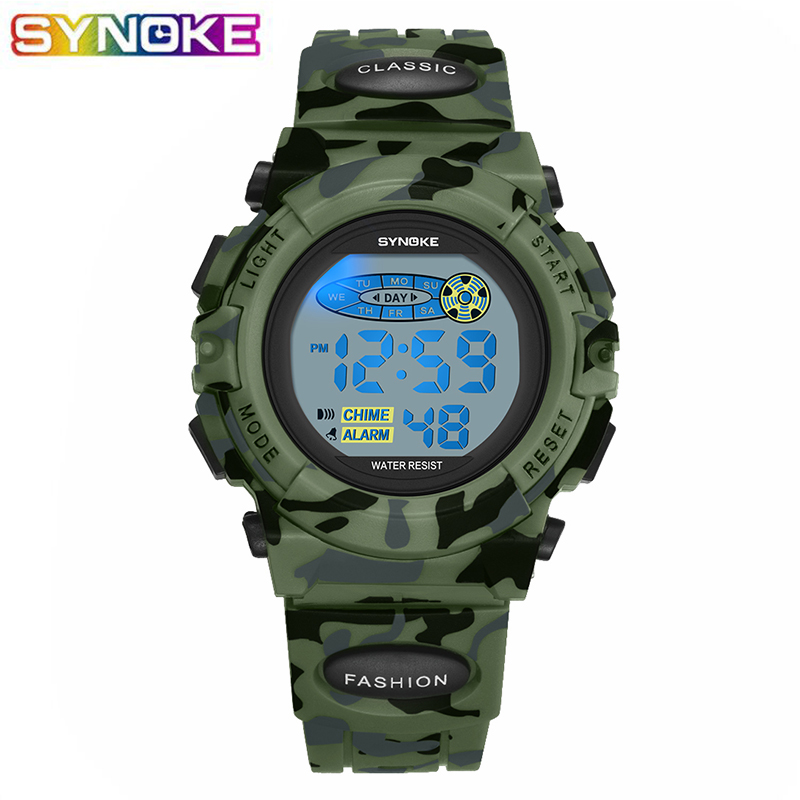 SYNOKE Sport Military Kids Watches Electronic Wristwatch Waterproof StopWatch Camouflage Children Digital Clock For Boys Girls