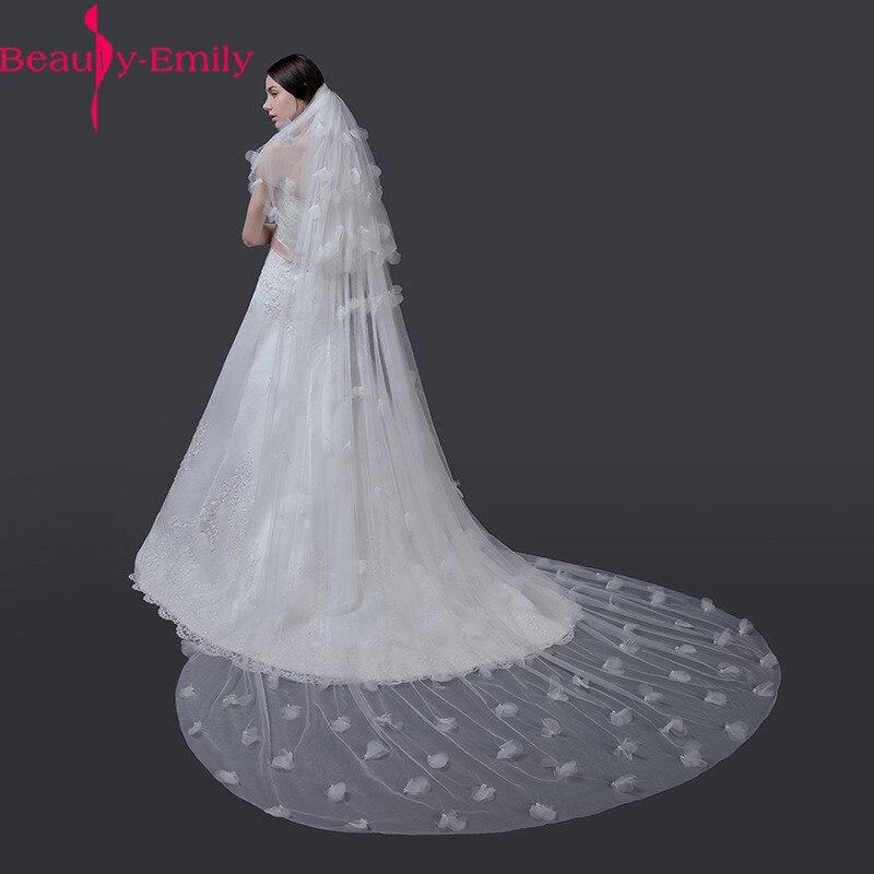 Beauty Emily 3M White Wedding Veil Charming 3 Layers Long Bridal Veil With Appliques Cut Edge Head Veil Wedding Accessories