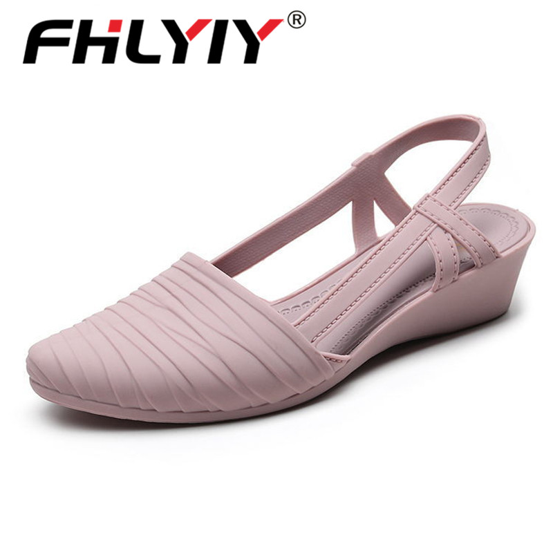 Women Sandals Jelly-Shoes Low-Heel Soft-Sole Pointed-Toe Street Pink Outdoor Beach Pu title=