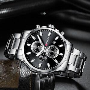 Image 3 - CURREN Relojes de pulsera con cronógrafo de cuarzo para hombre, Reloj de negocios informal, de acero inoxidable, con fecha, multifunción